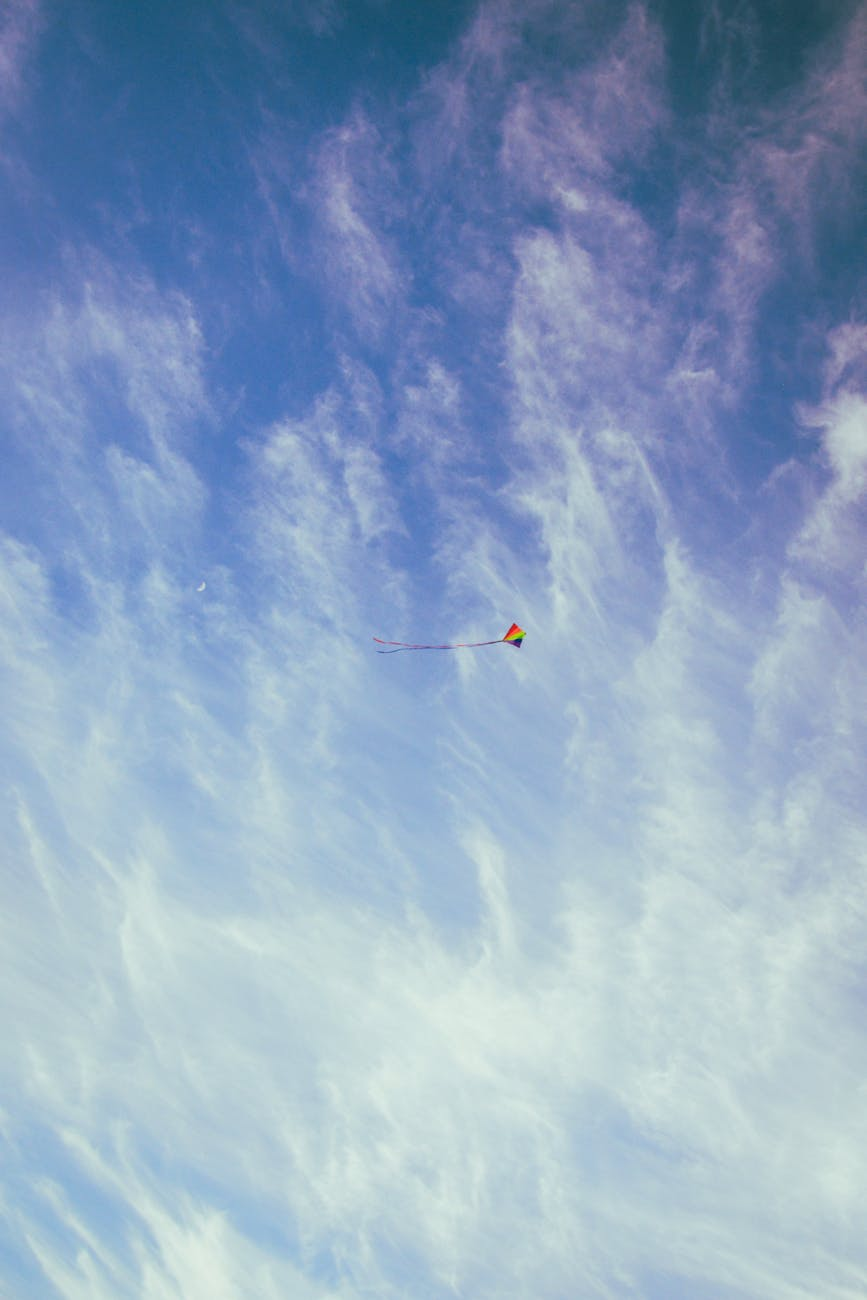 red yellow and blue kite on the sky